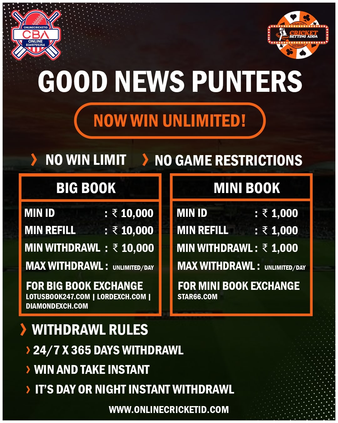 365 days cricket betting rules nrl round 2 2021 betting tips